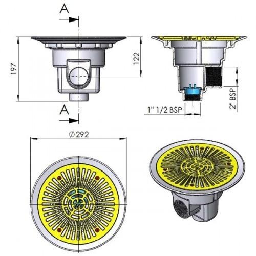Sumidero circular Ø 270mm con rejilla ABS Astral Pool