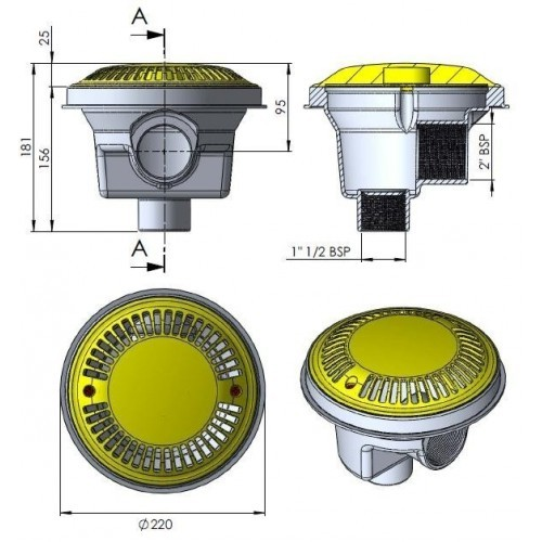 Sumidero circular Ø 200 mm con rejilla antivortex AstralPool