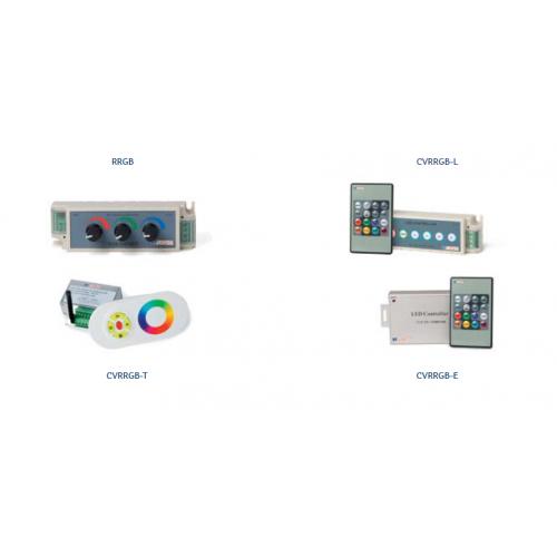 CONTROLADORES RGB BSV, CONTROLADORES RGB: CVRRGB-E 12-24VDC,OUTPUT:PWM 12-24VDC,4A CANAL 104X65X24MM CONTRL C/MANDO MULTIBOTÓN