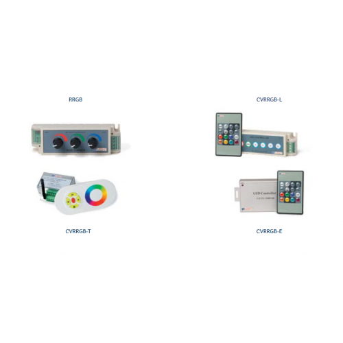 CONTROLADORES RGB BSV, CONTROLADORES RGB: CVRRGB-T 12-24VDC,OUTPUT:PWM 12-24VDC,3A CANAL 130X40X51MM CONTRL C/MANDO TOUCH