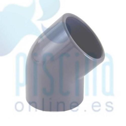Codo 45º de PVC para encolar D.  75 mm